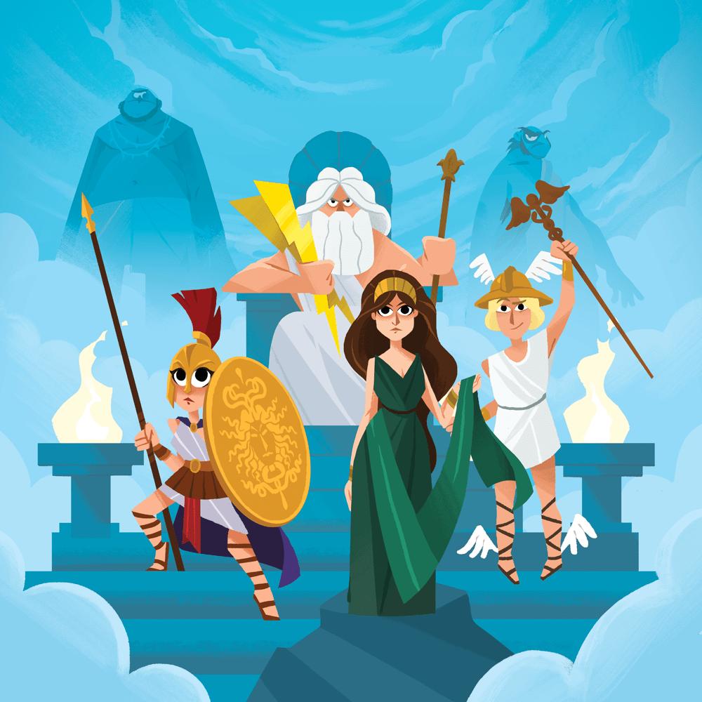 """Cover de la serie Mythes et légendes : """"Les Dieux Grecs"""" disponible sur Sybel"""